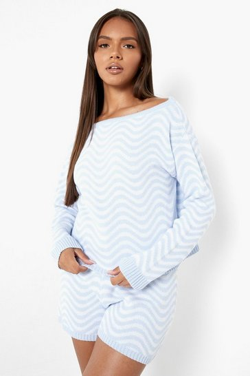 Blue Ripple Print Knitted Shorts Co-ord