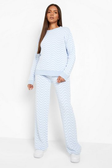 Blue Ripple Print Knitted Set