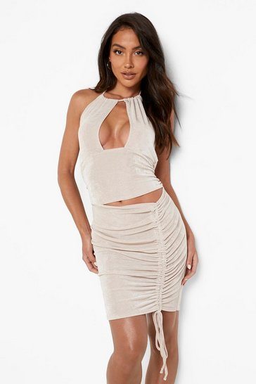 Stone beige Slinky Cut Out Rouched Mini Dress