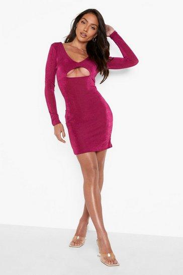 Plum purple Slinky Cut Out V Hem Mini Dress