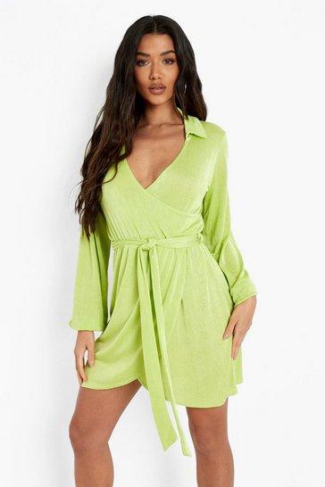 Lime green Wrap Over Tie Mini Shirt Dress