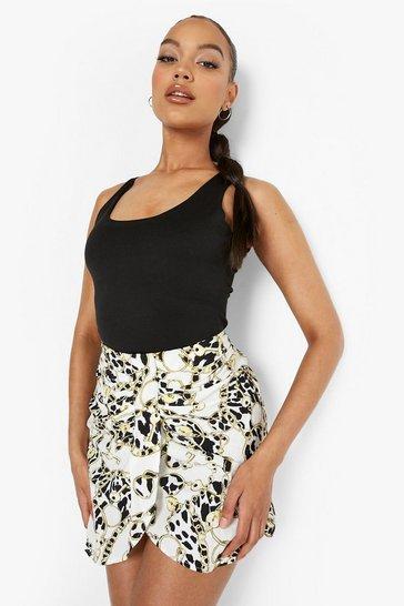 White Chain Print Draped Mini Skirt