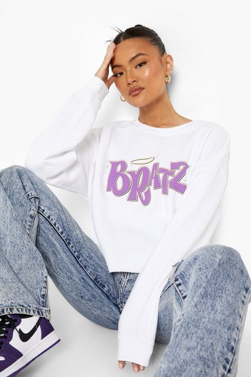 Ivory white White Bratz License Print Cropped Sweatshirt