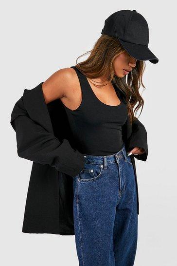 Black Double Layer Scoop Neck Bodysuit