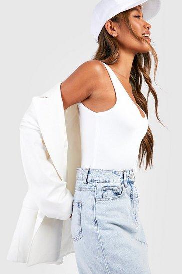 White Double Layer Scoop Neck Bodysuit