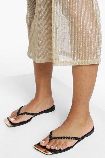 Black Plaited Flip Flop Sandal