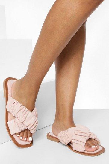 Pink Ruched Crossover Slider