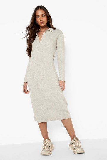 Stone beige Asymmetric Button Knitted Midi Dress