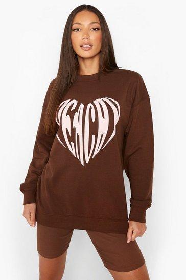 Chocolate brown Tall Peachy Slogan Sweatshirt