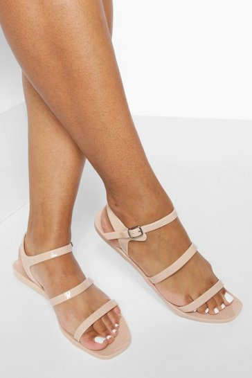 Nude Jelly Triple Strap Sandals