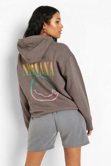 Charcoal grey Grey Tal Nirvana License Back Print Hoodie
