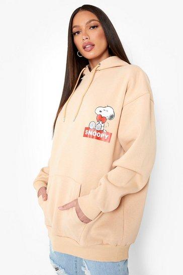 Stone beige Tall Snoopy Licensed Print Hoodie