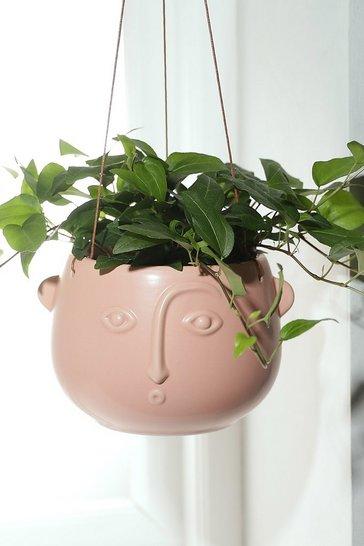Pink Face Hanging Matte Planter