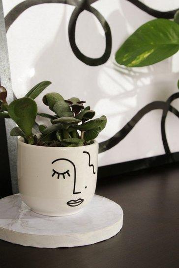 White Abstract Face Mini Planter
