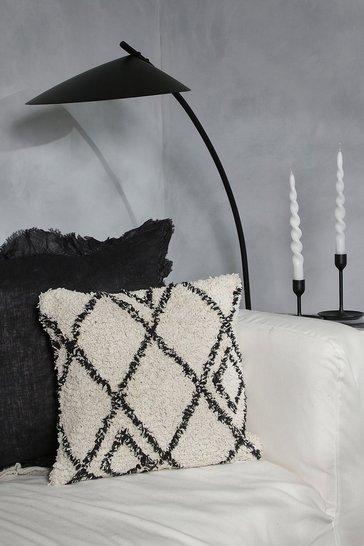 White Berber Style Diamonds Tufted Cushion