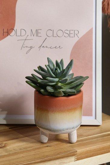 Orange Mojave Glaze Planter