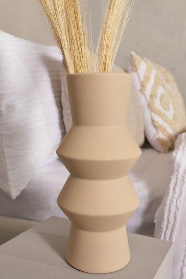Cream white Ribbed Stone Vase