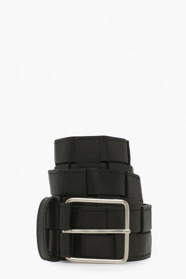 Black Woven Chunky Waist Belt