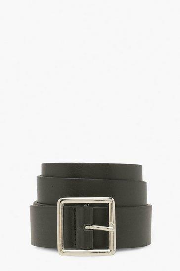 Black Basic Square Buckle Belt