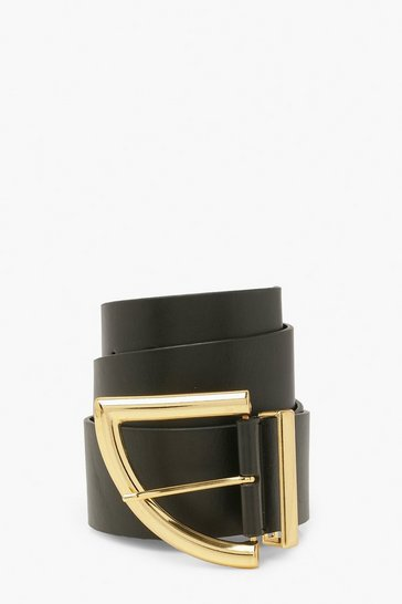 Black Chunky Curved Buckle Waist Belt