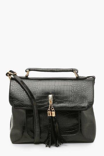 Black Croc Tassel Cross Body Bag