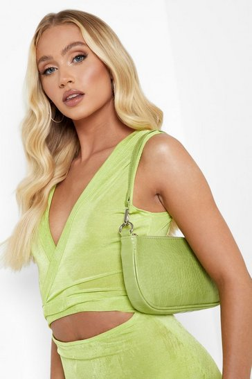 Lime green Croc Pu Baguette Shoulder Bag