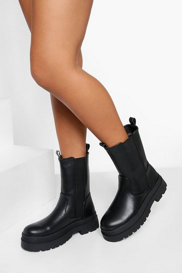 Black Chunky High Ankle Chelsea Boot