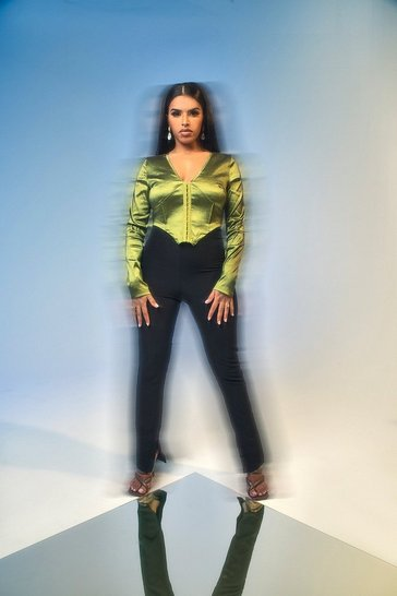 Olive green Corset Style Long Sleeve Top