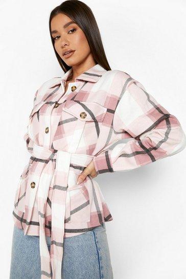 Pink Belted Pocket Detail Check Shacket