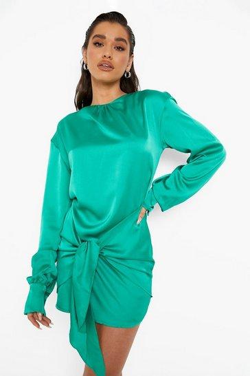 Green Satin Blouson Tie Detail Mini Dress