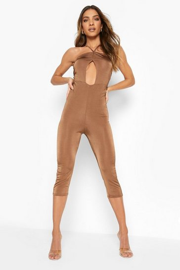 Chocolate brown Recycled Slinky Ruched Detail Unitard