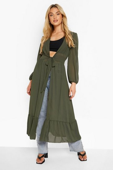 Sage green Tiered Panel Maxi Belted Kimono