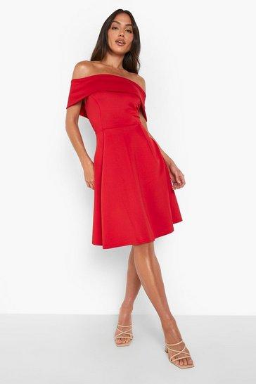 Red Off The Shoulder Skater Dress