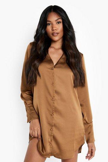 Chocolate brown Satin Plunge Shirt Dress