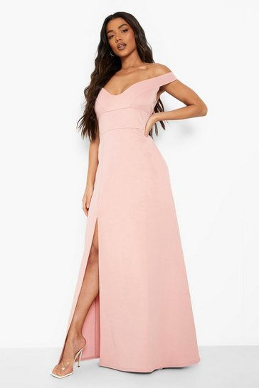 Pink Sweetheart Off Shoulder Bodycon Maxi Dress