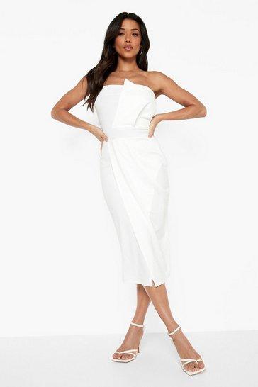 White Bandeau Wrap Detail Split Midi Dress