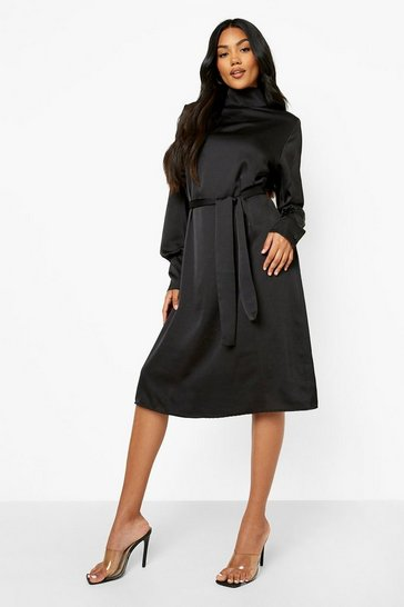 Black Satin High Neck Belted Midi Dress