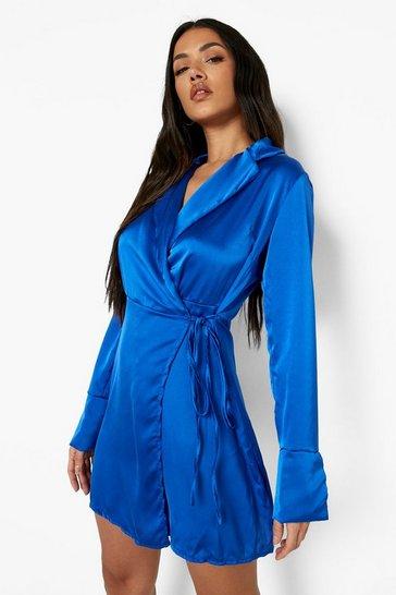 Cobalt blue Satin Wrap Belted Mini Dress