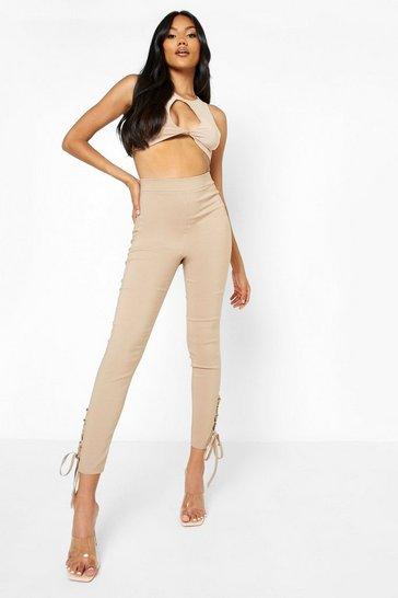 Stone beige Stretch Lace Up Hem Skinny Trousers