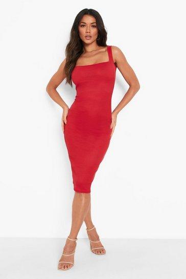 Wine red Recycled Rib Square Neck Midi Dress
