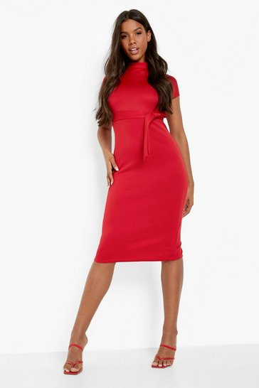 Red Funnel Neck Belted Midi Dress