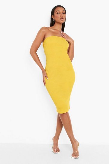 Mustard yellow Recycled Rib Bandeau Midi Dress
