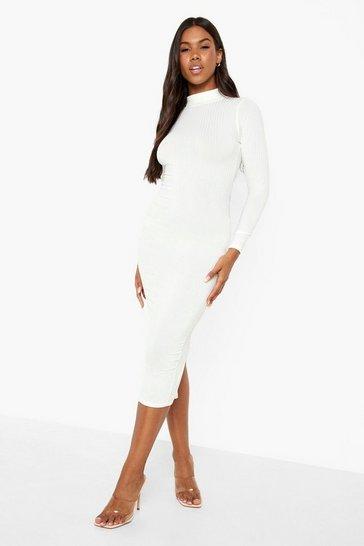 Ecru white Recycled Rib Roll Neck Midi Dress