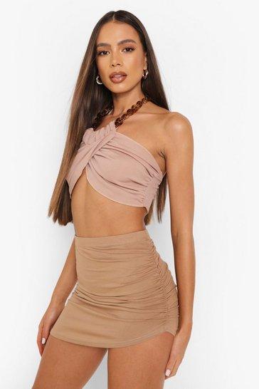 Camel beige Ruched Side Split Front Jersey Mini Skirt