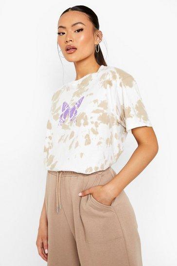 Stone beige Tie Dye Printed T-shirt