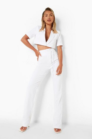 White Extreme High Waist Trousers