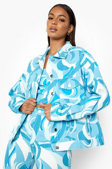 Blue Abstract Printed Cropped Denim Jacket