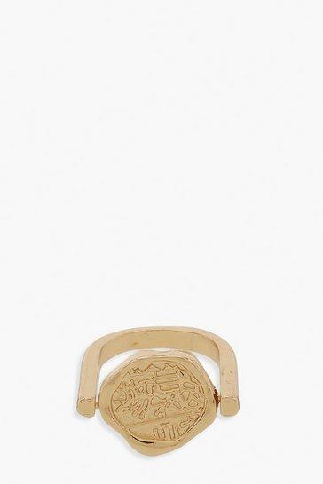 Gold metallic Large Coin Ring