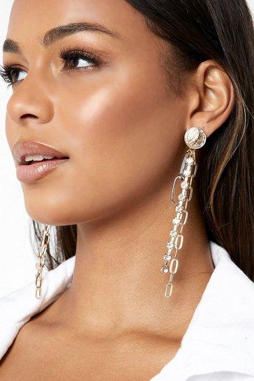Gold metallic Chain And Diamante Drop Earrings