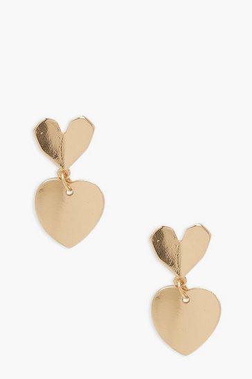 Gold metallic Heart Drop Earring
